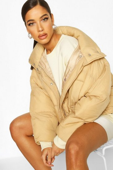 Womens Camel Super Oversized Funnel Neck Puffer