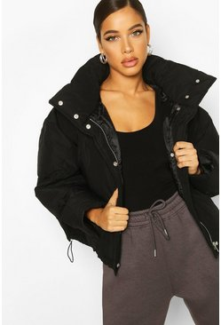 Womens Black Super Oversized Funnel Neck Puffer