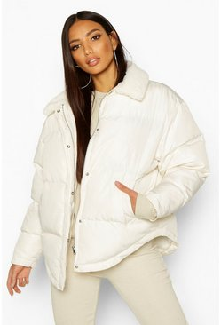 Womens Frosted ivory Faux Fur Collared Puffer Jacket