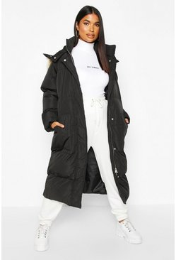 Womens Black Panelled Faux Fur Hood Padded Coat