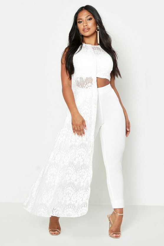 Womens White Lace Co-Ord