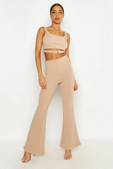 Womens Camel High Waisted Skinny Flare