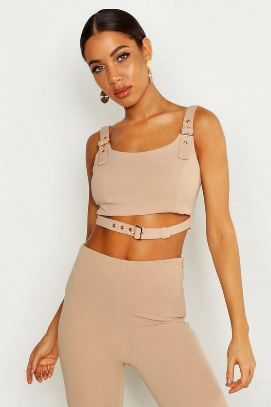 Womens Camel Buckle Detail Bralet