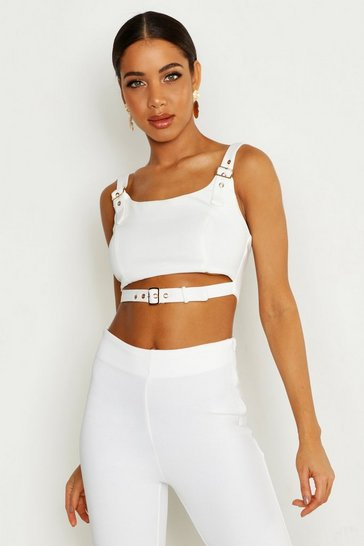 Womens White Buckle Detail Bralet