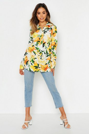 Womens White Fruit Print Oversized Shirt