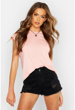 Apricot Basic Cap Sleeve Rib Neck T-Shirt
