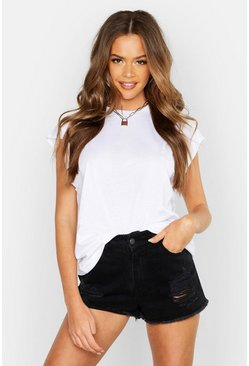 Womens White Basic Cap Sleeve Rib Neck T-Shirt