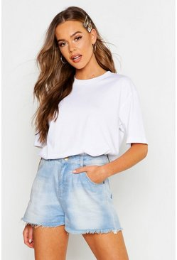 Womens White Basic Rib Neck T-Shirt