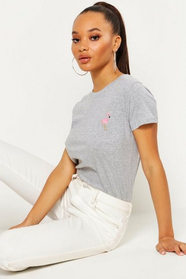 Grey marl Flamingo Badge T-Shirt