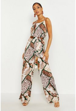 Tan Woven Mixed Animal Print Tie Waist Wide Leg Jumpsuit