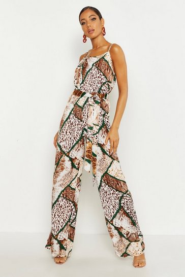 Womens Tan Woven Mixed Animal Print Tie Waist Wide Leg Jumpsuit