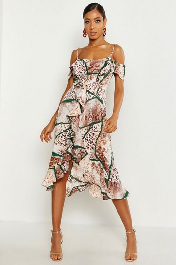 Tan Woven Mixed Animal Print Ruffle Maxi Dress