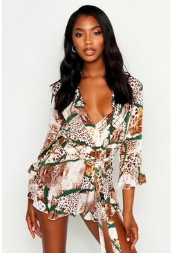 Womens Tan Woven Mixed Animal Print Wrap Ruffle Playsuit