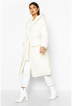 White Hooded Belted Longline Puffer