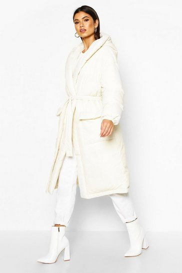 Womens White Hooded Belted Longline Puffer