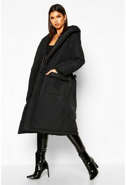 Womens Black Hooded Belted Longline Puffer