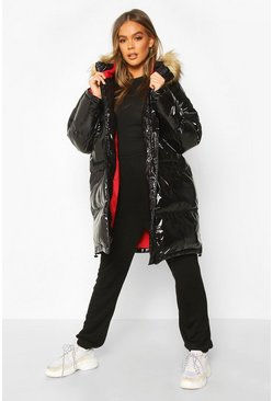 Womens Black Vinyl Longline Faux Fur Trim Puffer Jacket