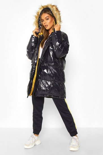 Womens Navy Vinyl Longline Faux Fur Trim Puffer Jacket