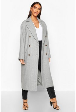 Womens Brown Herringbone Wool Look Button Through Coat