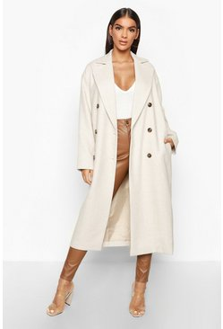 Cream Herringbone Wool Look Button Through Coat