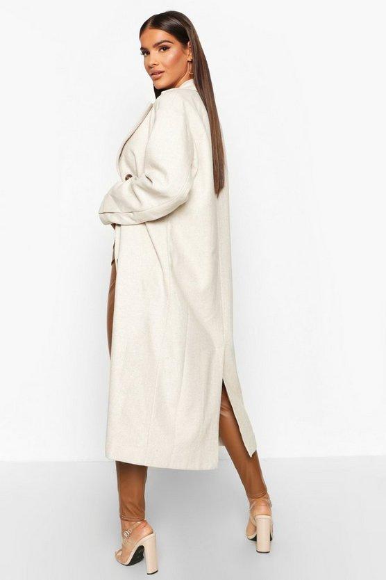 Herringbone Wool Look Button Through Coat