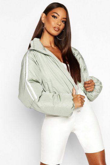 Womens Sage Sporty Cropped Puffer