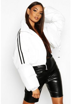 Womens White Sporty Cropped Puffer