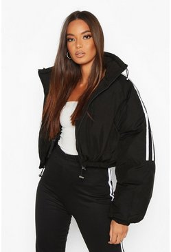Black Sporty Cropped Puffer