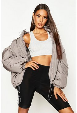 Oversized Puffer Jacke in matter Metallic-Optik mit Trichterkragen, Anthrazit