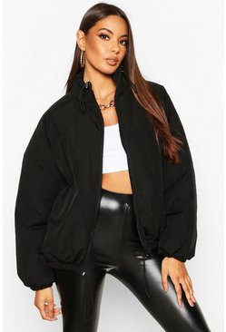 Black Matte Metallic Oversized Funnel Neck Puffer