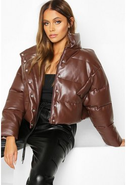 Womens Chocolate Faux Leather Puffer