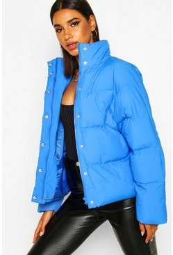 Womens Electric blue Funnel Neck Puffer Jacket With Pockets