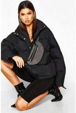 Black Funnel Neck Puffer Jacket With Pockets