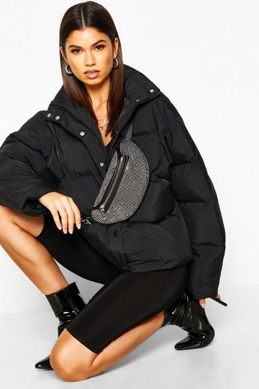 Womens Black Funnel Neck Puffer Jacket With Pockets