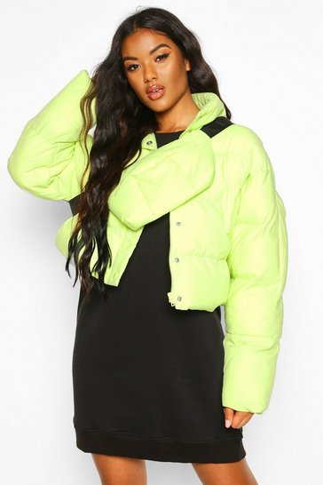 Womens Lime Funnel Neck Puffer With Detachable Bag