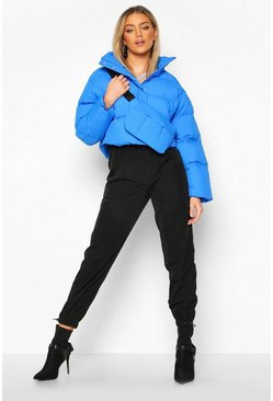 Womens Blue Funnel Neck Puffer With Detachable Bag