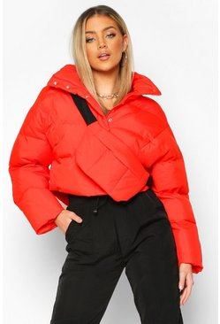 Womens Orange Funnel Neck Puffer With Detachable Bag