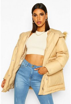 Camel Drawcord Waist Faux Fur Hooded Puffer