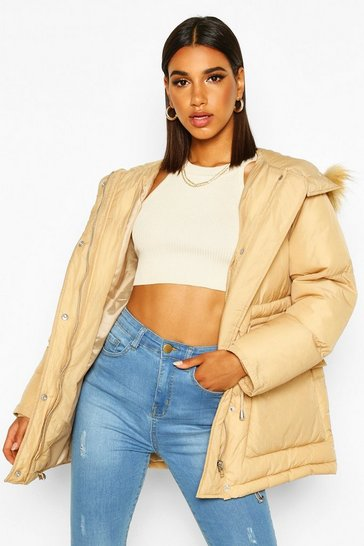 Womens Camel Drawcord Waist Faux Fur Hooded Puffer