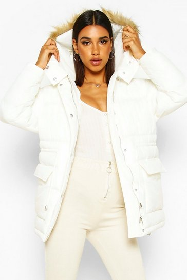 Womens Off white Drawcord Waist Faux Fur Hooded Puffer