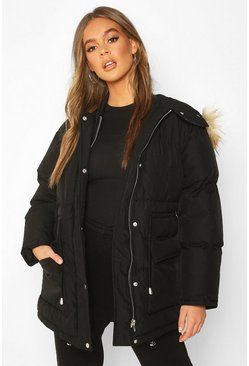 Womens Black Drawcord Waist Faux Fur Hooded Puffer