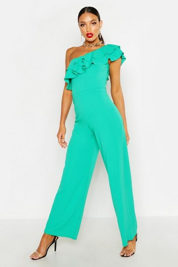 Emerald Off The Shoulder Ruffle Detail Crepe Jumpsuit