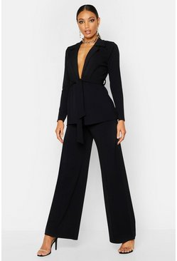Womens Black Wide Leg Crepe Trousers