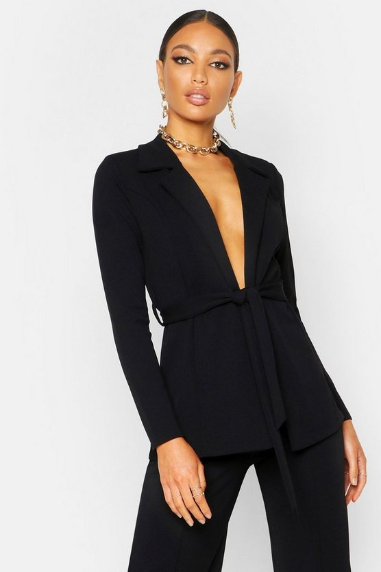 Womens Black Tailored Crepe Blazer