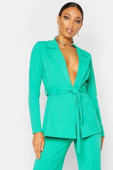 Womens Emerald Tailored Crepe Blazer