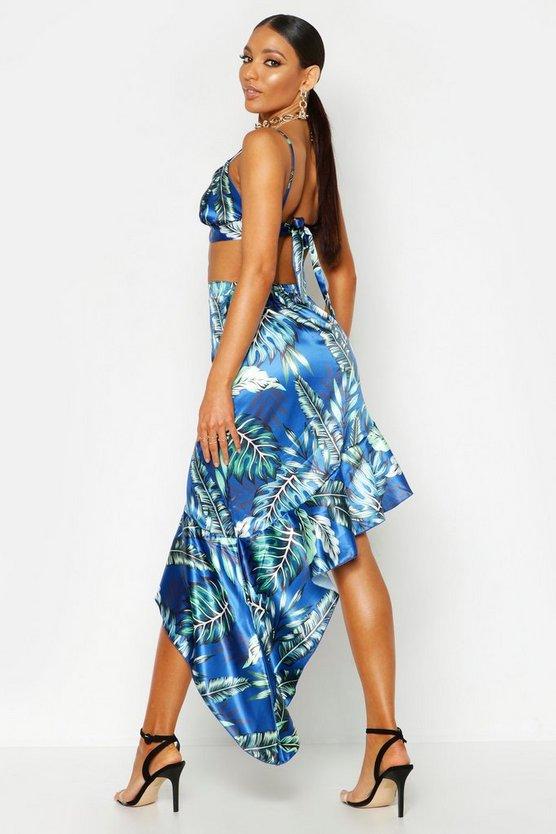 Satin Ruffle Hem Palm Print Skirt