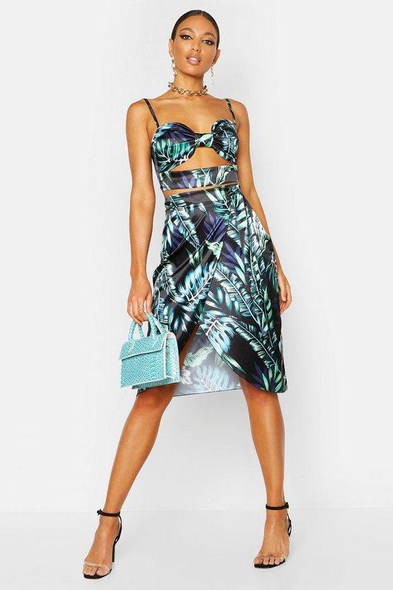 Satin Palm Print Wrap Front Midi Skirt