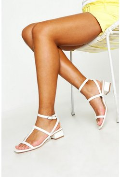 Womens White Caged Low Block Heels