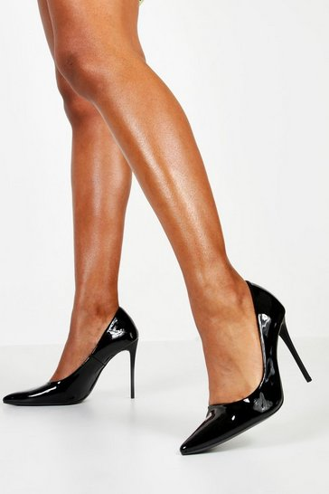 Womens Black Skinny Stiletto Courts