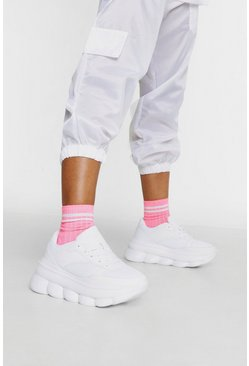 Womens White Bubble Detail Sole Trainers